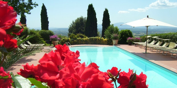 Panoramic view from swimming pool at Agriturismo Casa Italia