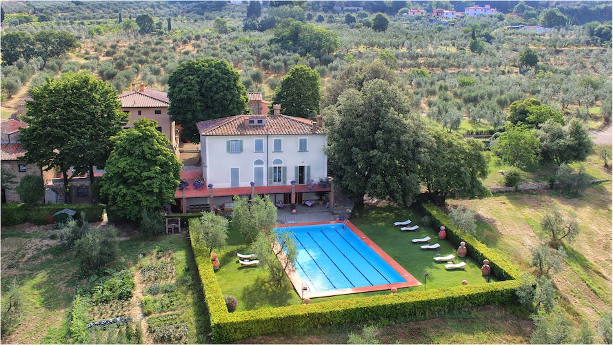 Aerial view of garden, pool and villa