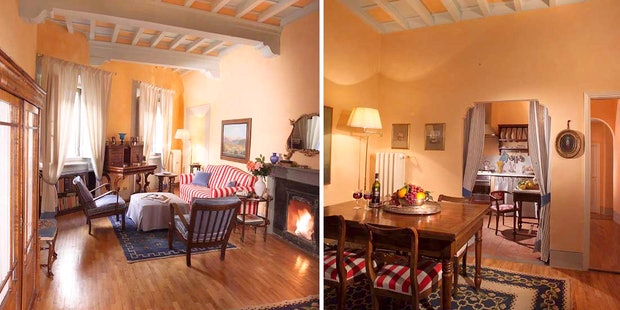 Living Room and Kitchen Casa Tornabuoni Florence