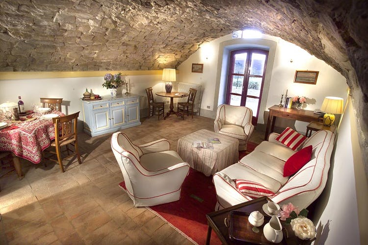 Beautiful stone accents and terracotta floors at Chianti Suites