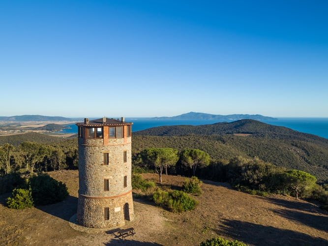 The recently renovated stone tower with panoramic view