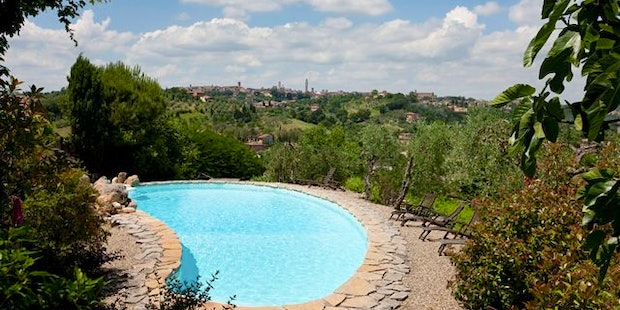 Picturesque landscape from France' Lodge, including Siena skyline