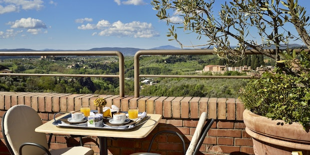 Truly unique, the panoramic terrace at Hotel Athena