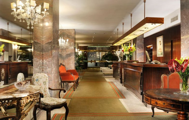 Soft colors and marble offer a beautiful setting at Hotel de la Ville