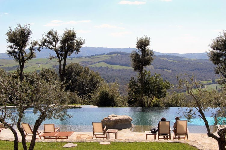 Spectacular views from the pool on your romantic holiday in Tuscany