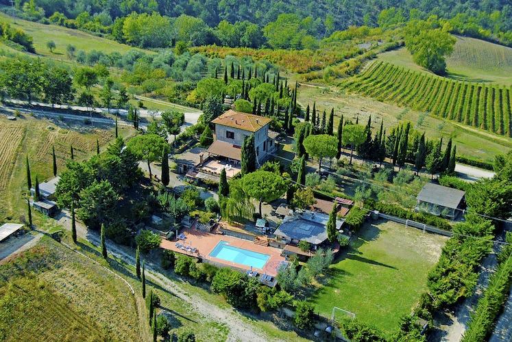 Mancinella - Aerial View of Pool, Vineyards & Cypress trees