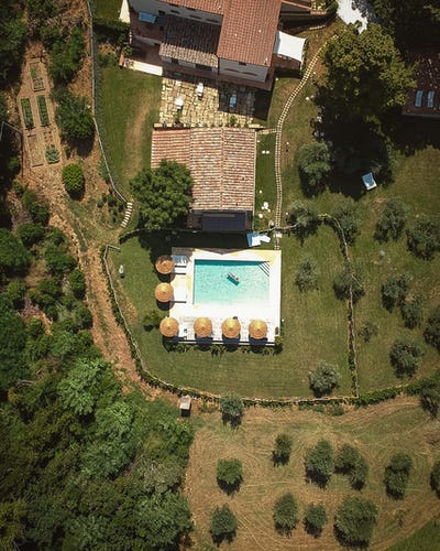 View from above of the estate and pool area