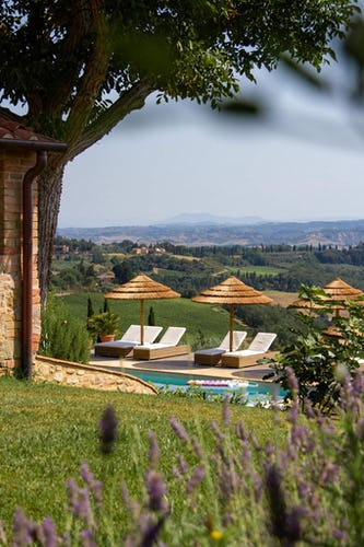 Tuscan countryside views around estate and pool area