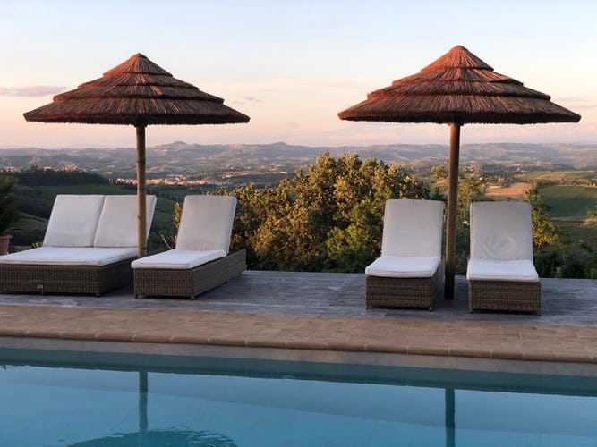 Pool with panoramic views of Tuscan hills