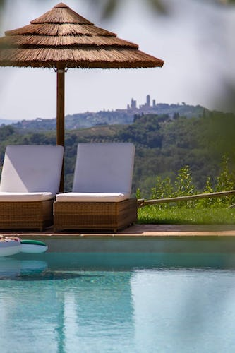 View of San Gimignano from the pool and gardens