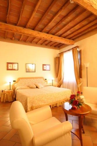 Beautifully restored bedrooms at il Chiostro di Pienza