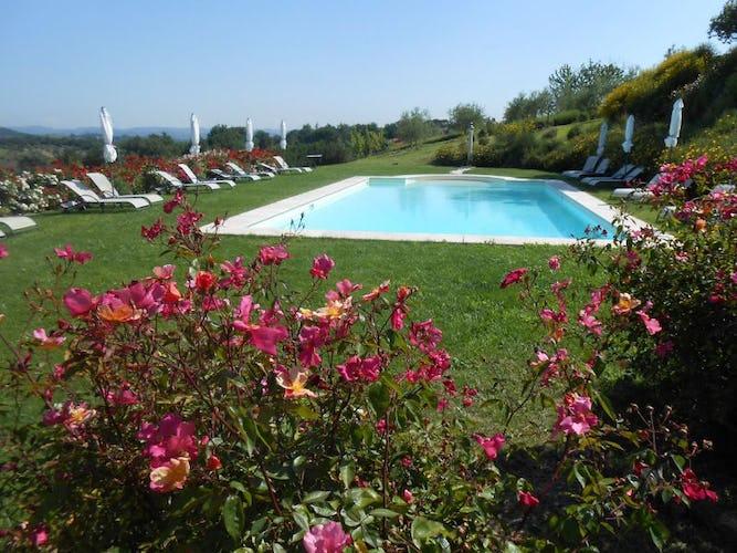 Panoramic pool has prime view of the San Gimignano skyline