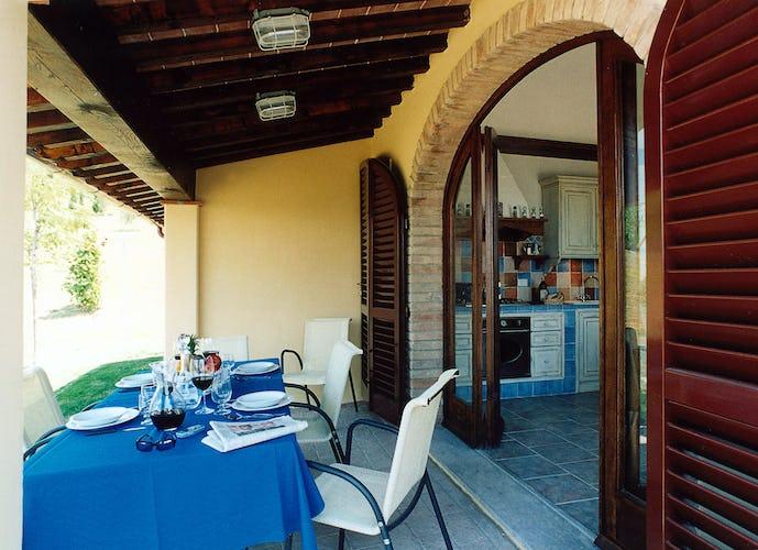 Enjoying outdoor dining at Chianti Farmhouse Tenuta Moriano