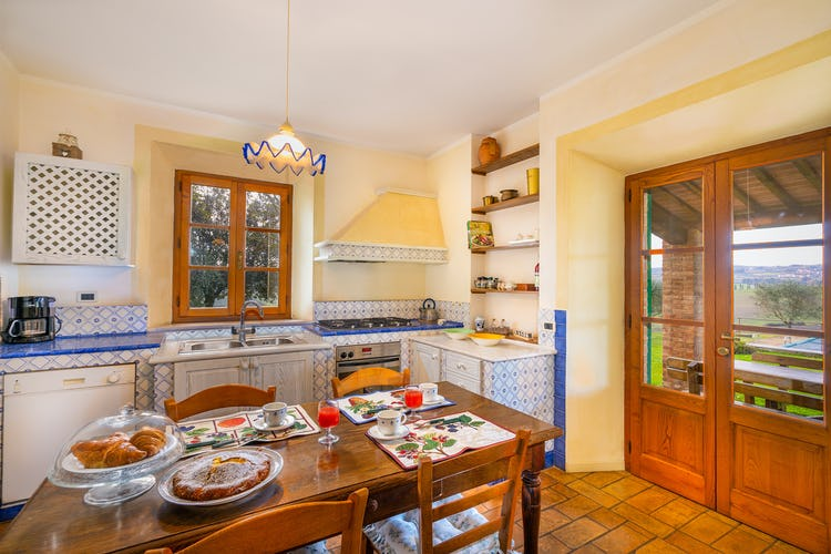 Particular of the kitchen holiday villa near Siena