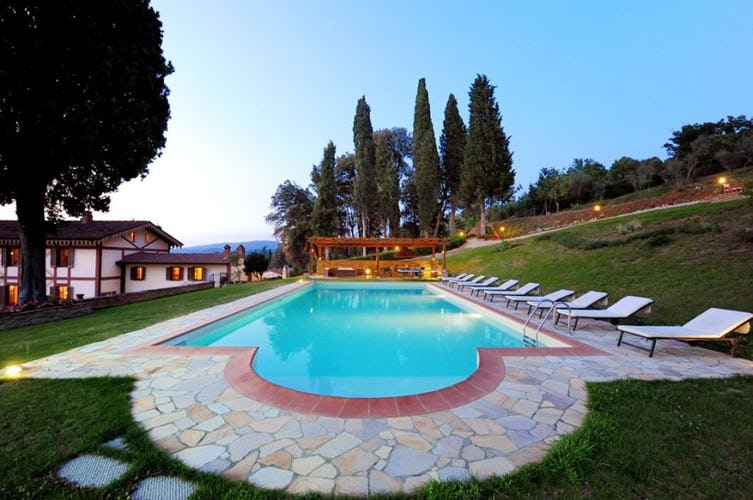 Private pool with lush green park area at Villa Rossi-Mattei